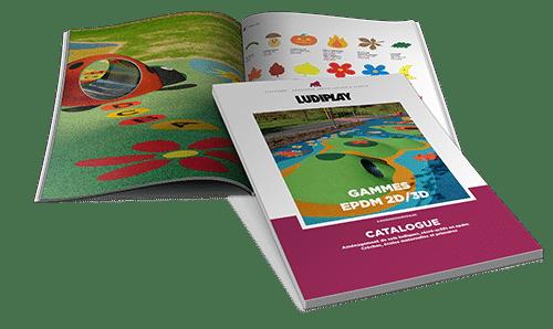 catalogue epdm 2D 3D pour l'aménagement des cours de récréation
